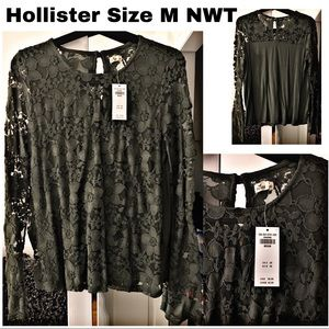 Hollister Olive green lace long sleeve jersey top
